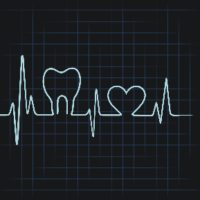 Graphic of a heartbeat monitor with teeth shapes on it